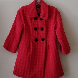 LUII RED JACKET COAT 6 LARGE BUTTON FRONT SMALL